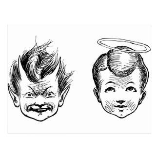 Postal Niños del ángel y del diablo