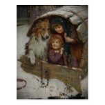 Postal Niños del Victorian en caseta de perro