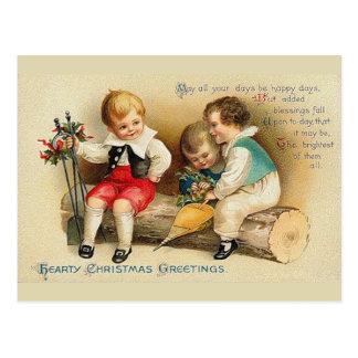 Postal Niños lindos del navidad del vintage
