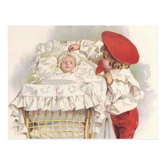 Postal Niños, niño y bebé del Victorian del vintage en