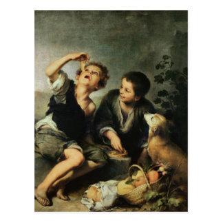 Postal Niños que comen una empanada, 1670-75