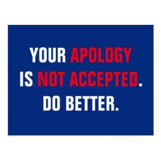 Postal No aceptan al político su disculpa