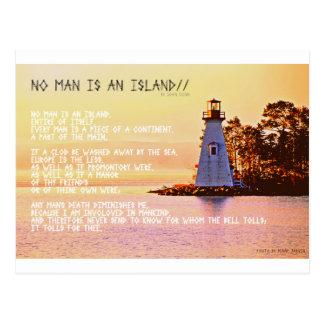 Postal No hay hombre una isla, por Juan Dunne.