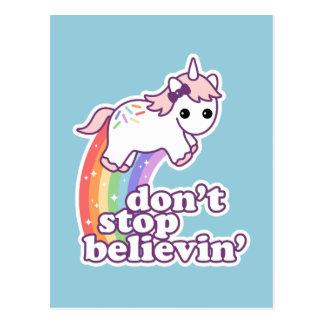 Postal No pare Believin en unicornios