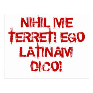 Postal ¡No temo nada!  ¡Hablo el latín!
