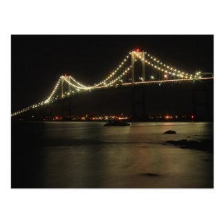 Postal Noche de la bahía de Narragansett del puente de