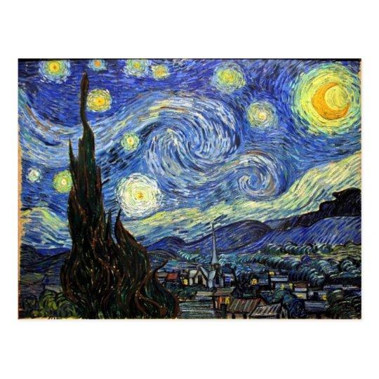Postal Noche estrellada de Vincent van Gogh 1889