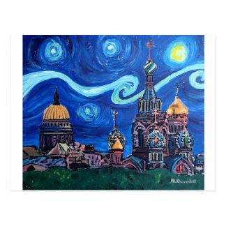 Postal Noche estrellada en St Petersburg Rusia