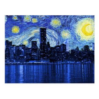 Postal Noche estrellada sobre New York City