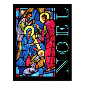 Postal NOEL del vitral de la natividad con el cordero y