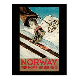 Postal Noruega el hogar del esquí