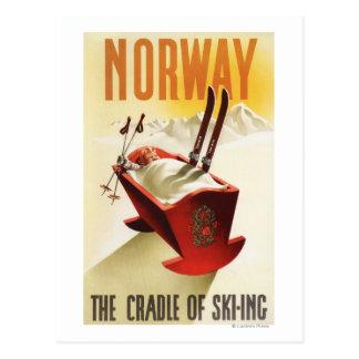 Postal Noruega - la cuna del esquí