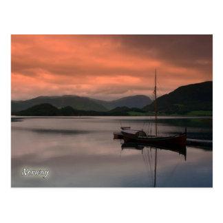 Postal Noruega, puesta del sol en Otnes