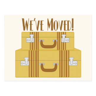 Postal Nos hemos movido - las maletas del vintage