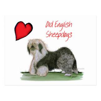 Postal nosotros perros pastor ingleses viejos del luv,