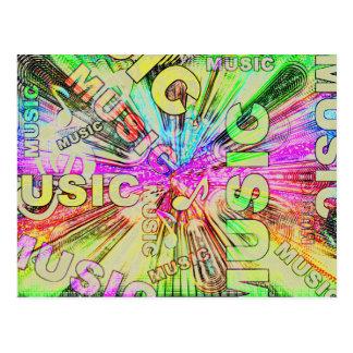 Postal Notas coloridas de la música