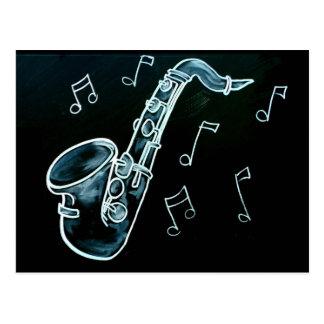 Postal Notas del saxofón y de la música