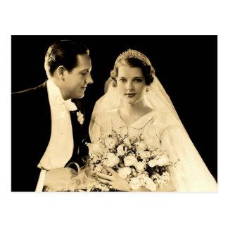 Postal Novia y novio del boda del vintage
