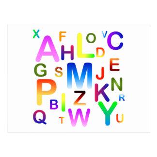 Postal Nube colorida del alfabeto