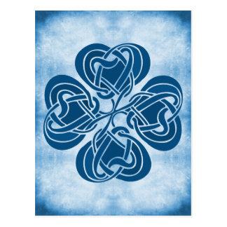 Postal Nudo céltico azul enrrollado