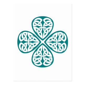 Postal Nudo verde azulado del Celtic del trébol