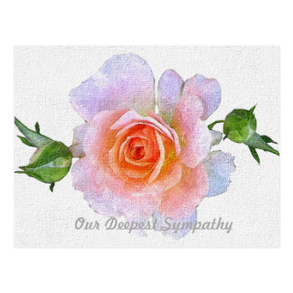 Postal Nuestra condolencia, arte floral color de rosa