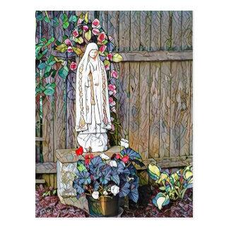 Postal Nuestra señora de Fátima w florece por la cerca