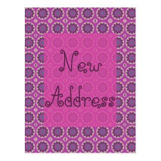 Postal Nueva dirección del estampado de flores rosado