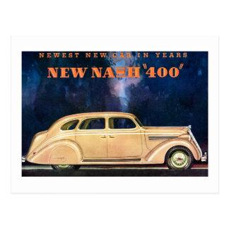Postal Nuevo vintage de Nash 400 - el nuevo coche más