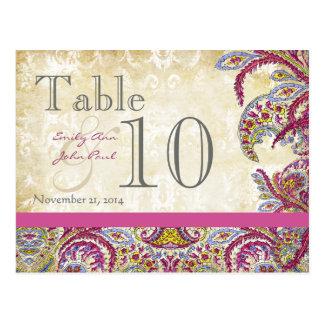Postal Número de la tabla del boda del oro del pavo real