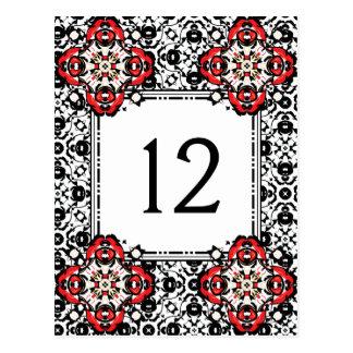 Postal Número elegante de la tabla del damasco de la