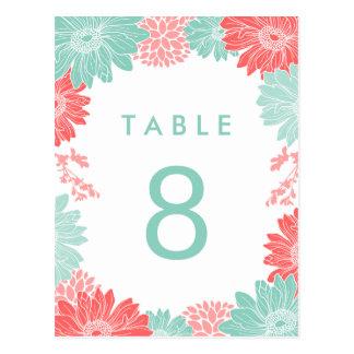 Postal Número floral moderno de la tabla del boda del