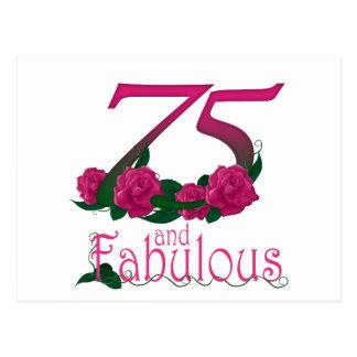Postal número floral rosado fabuloso de la edad del 75.o
