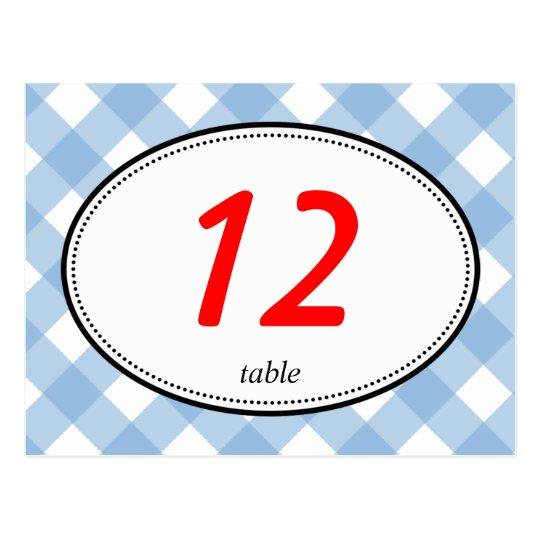 Postal Número rústico de la tabla del boda del país azul