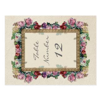 Postal Números elegantes formales florales de la tabla