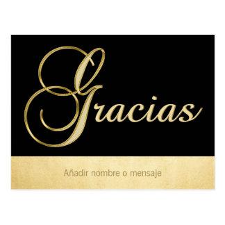 Postal Ocasión elegante personalizada Gracias del negro
