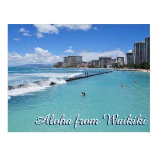 Postal Océano Pacífico de Honolulu Hawaii de la playa de