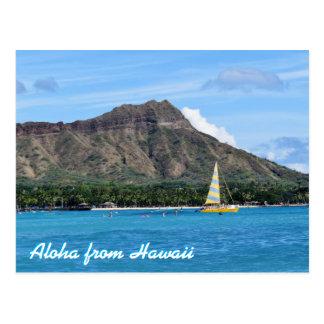 Postal Océano principal de la playa de Hawaii Duamond