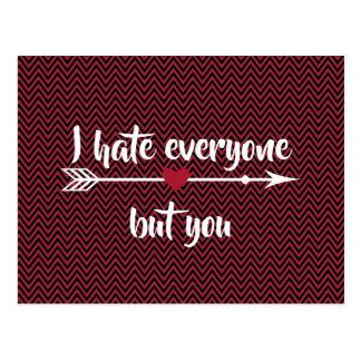 Postal Odio cada uno el día de San Valentín