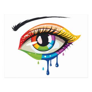 Postal Ojo de los colores del arco iris