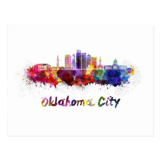Postal Oklahoma City V2 skyline in watercolor