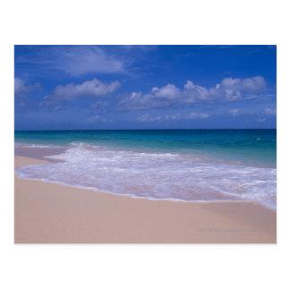 Postal Olas oceánicas que hacen espuma sobre la playa