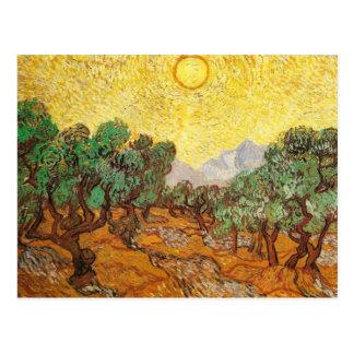 Postal Olivos cielo amarillo y bella arte de Sun Van Gogh