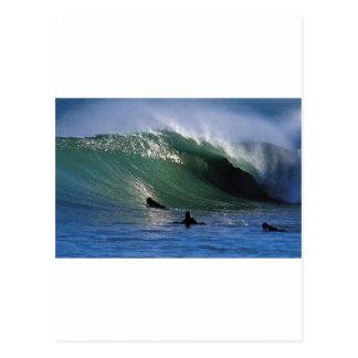 Postal Onda que practica surf Nueva Zelanda del verde del