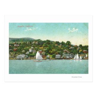 Postal Opinión de la ciudad, barcos de la costa de vela