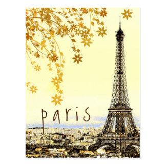 Postal Opinión rústica del vintage de la ciudad de París
