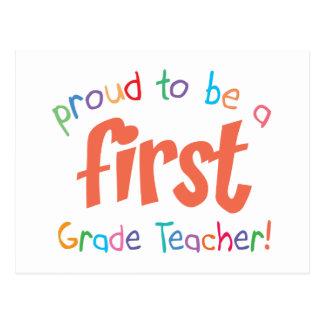Postal orgullosa del profesor del primer grado