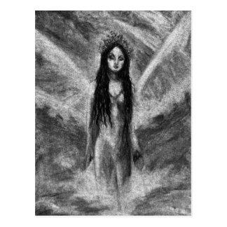 Postal original de hadas del arte del ángel oscuro