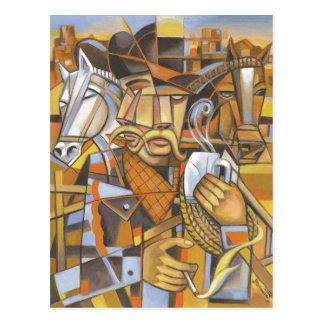 Postal original del arte del cubismo del vaquero