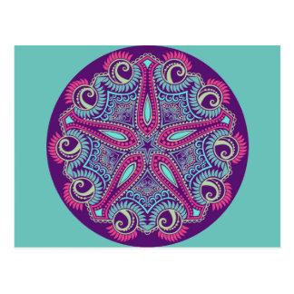 Postal Ornamento púrpura exótico de las estrellas de mar
